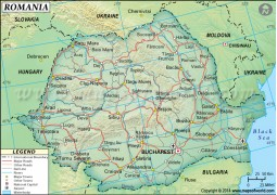 Romania Political Map, Dark Green