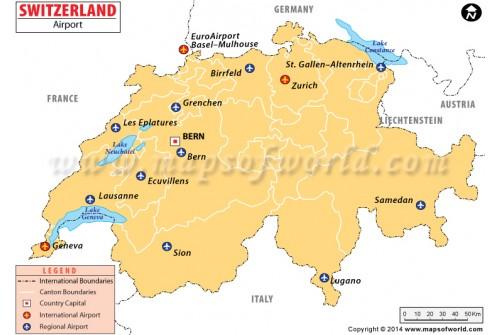 Switzerland Airports Map