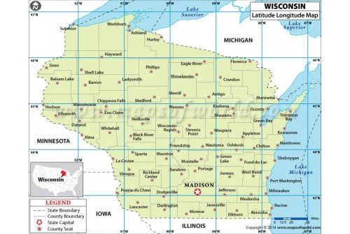 Wisconsin Latitude Longitude Map