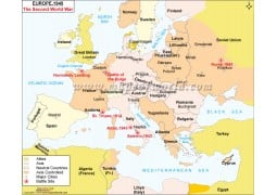 Europe 1945 The Second World War Printed Map