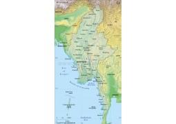 Myanmar Physical Map, Dark Green