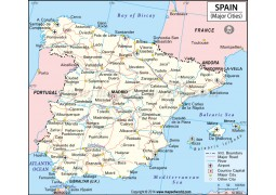 Map of Spain with Major Cities