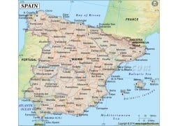 Spain Country Map (Earth Toned)