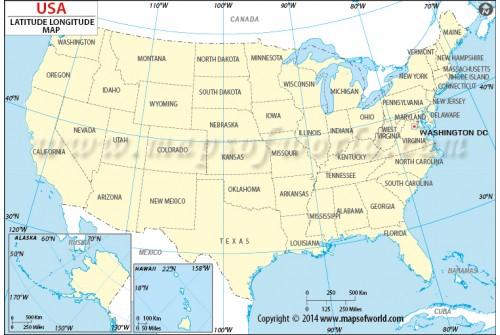 US Map with Latitude and Longitude
