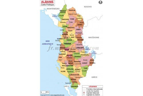 Albanie Carte Politique-Albania Political Map