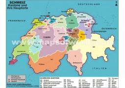Karte der Schweizer Kantone und ihrer Hauptorte (Map of Swiss cantons and their capitals)