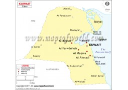 Kuwait Map with Cities