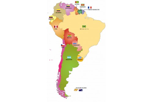 South American CountriesFlags Map