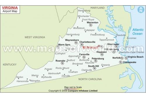Virginia Airports Map