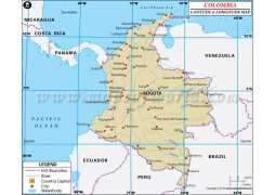 Colombia Latitude and Longitude Map