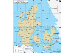 Denmark Latitude and Longitude Map