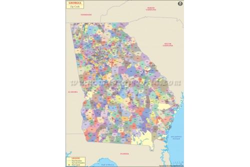 Georgia (USA) Zip Code Map