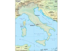 Italy Blank Map Green Background