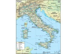 Italy Political Map, Dark Green