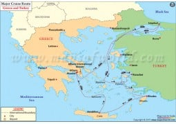 Map of Major Cruise Route Between Greece and Turkey