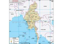Myanmar Latitude and Longitude Map