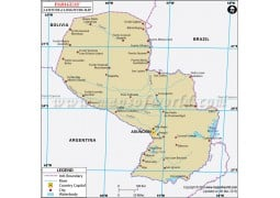 Paraguay Latitude and Longitude Map
