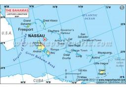 Bahamas Latitude and Longitude Map