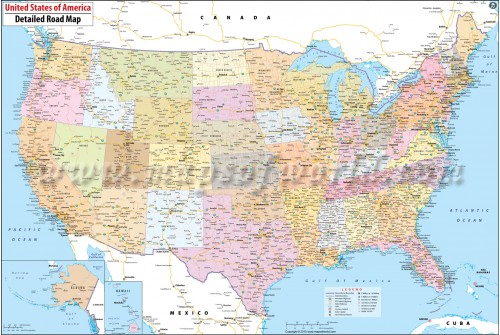 Large Road Map of USA