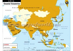 Map of Coastal Countries of Asia