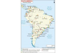 South America Industrial Centers Map