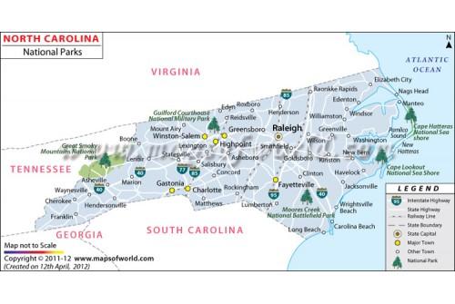 North Carolina National Parks Map