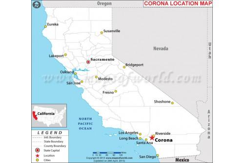 Corona Location Map, California