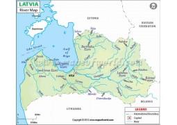 Latvia River Map