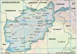 Afghanistan Political Map, Dark Green