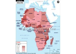African Countries by Literacy Rate Map