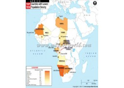 African Countries with Lowest Population Density Map