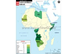 African Countries with Minimum Arable Land Map