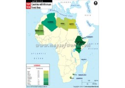 African Countries with Minimum Forest Area Map