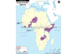 African Countries with Sex Ratio equal to One Map