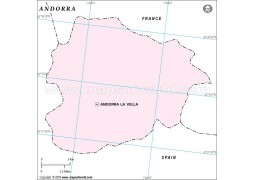 Andorra Blank Map in Pink Color