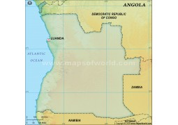 Angola Blank Map in Dark Green Background