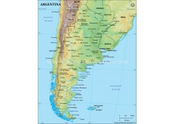 Argentina Physical Map, Dark Green