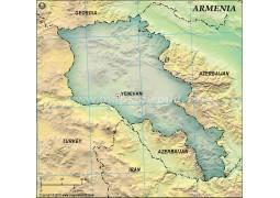Armenia Blank Map, Dark Green