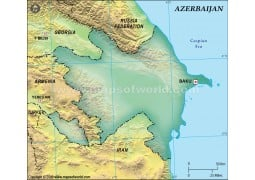 Azerbaijan Blank Map, Dark Green