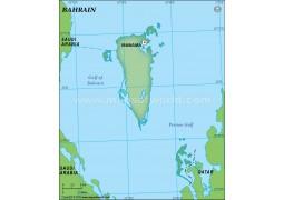Bahrain Blank Map in Dark Green Color