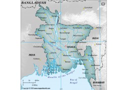 Bangladesh Physical Map with Cities in Gray Color