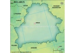 Belarus Blank Map in Dark Green Background