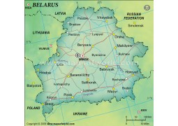 Belarus Political Map in Dark Green Background