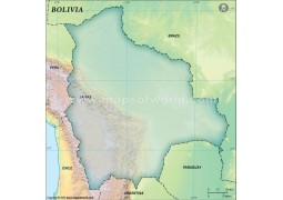 Bolivia Blank Map, Dark Green