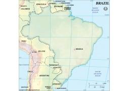 Brazil Dark Green Blank Map