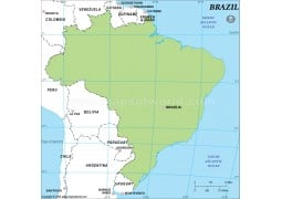 Brazil Outline Map in Green Color