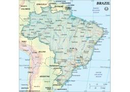 Brazil Map, Dark Green