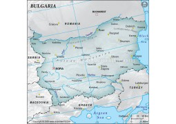 Bulgaria Physical Map, Gray