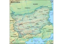 Bulgaria Political Map, Dark Green
