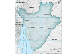 Burundi Physical Map in Gray Color